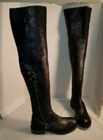 NEW FREE PEOPLE WOMEN'S BRAXTON BLACK LEATHER OVER THE KNEE BOOTS US 9 EUR 39
