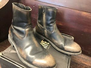 Frye Mens Bowery Inside Zip Black Ankle Boots Size 10 (1078068)