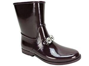 Michael Kors Women's Leslie Rain Booties Plum Rubber Size 9 M