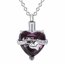 Heart Cremation Urn Necklace for Ashes Keepsake Jewelry Memorial Pendant Purple