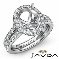 Diamond Engagement 1.26Ct Ring Platinum Oval Semi Mount Halo Pave Split Shank