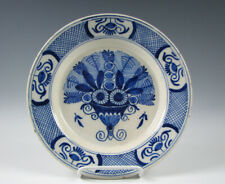 18th Century Antique Blue and White Delft Pottery Plate Basket of Flowers