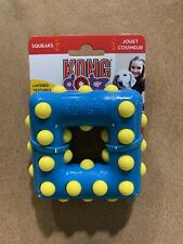 KONG DOTZ Square Small Nubby Dog Toy Squeaks Blue Yellow NWT