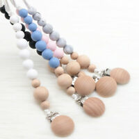 Baby Sensory Teething Wood Pacifier Clip Silicone Round Beads Soother Chain Clip