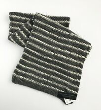 BLOOMINGDALE'S Men's Chunky Knit Alpaca Blend Stripe Scarf, Grey & Ivory, NWT