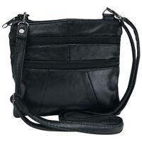 BLACK Solid Genuine Leather Purse Handbag Womens Shoulder Cross Body Strap Bag