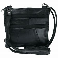 BLACK Solid Genuine Leather Purse Handbag Womens Shoulder Cross Body Strap Bag