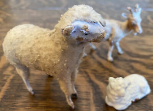 Vintage Putz Wooly Sheep Stick Leg Composition Face with Japan sheep and goat.