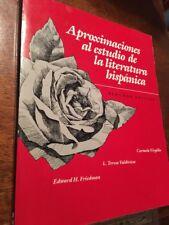 APROXIMACIONES al Estudio de la Literatura Hispanica  SEGUNDA EDICION
