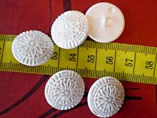 5 schmuckknöpfe Pure White Relief Pattern Mandala Flower keramikoptik 22mm