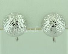 diamond cut ball 2.40 grams #4573 18k solid white gold huggie earring earrings