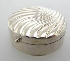 925 STERLING SILVER ROUND SHELL SHAPED PILL BOX SMALL CONTAINER (3CM 753-10182)
