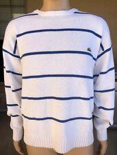 Vintage Retro Izod Lacoste Striped Pullover Sweater Blue & White Size XL