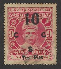 India Cochin State SG O23 1929 10p on 9p overprint Pies for pies used