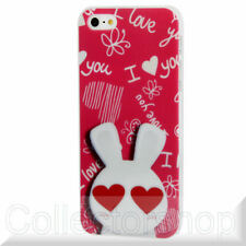 Red Heart Background Rabbit Pattern Plastic Protective Case for iPhone 5