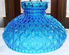 "10"" Glass Shade fit old electric or oil kerosene student lamp BLUE Diamond Quilt"