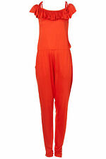 TOPSHOP frill top jumpsuit UK 8 in Orange - New
