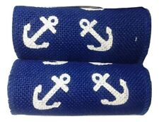 Nautical Fabric Gauz Trim Blue with White Anchors 1.5 yards x 2 Lot (3 yards)