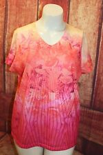 WEEKENDS by Chico's Floral Tropical Shirt Top Short Sleeve Size 3