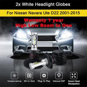 2x Headlight Globes For 2009 2010 Nissan Navara Ute D22 High Low Beam LED Bulb B