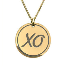 XO Kiss 18 K Gold Plated Laser Engraved Pendant Necklace for Men - Women