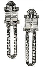 Lanvin Art Deco Burnished Silver Tone Baguette Swarovski Crystals Clip Earrings