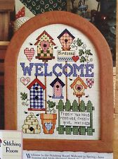 Birdhouse Welcome counted cross stitch magazine pattern, fabric & floss lot