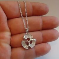 925 STERLING SILVER MICRO PAVE FLOWER NECKLACE PENDANT W/ 1ct LAB DIAMONDS/18''