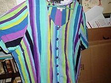 Beautiful Colorful Roaman's Striped SS button front Shirt generous 18W bust 56
