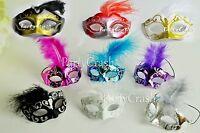 12 Mini Mardi Gras Feather Masquerade Mask Party Favor Wedding Decoration