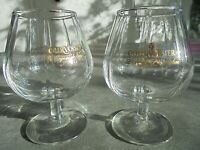 "Set of 2 Small Courvoisier Cognac Brandy Glasses 4 1/2"" Tall"
