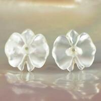 White Mother-of-Pearl Shell Carving Orchid Flower Earring Pair Handmade 1.73 g