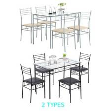 5 Piece Glass Dining Table Set 4 Chairs Kitchen Room Breakfast Black/Silver NEW