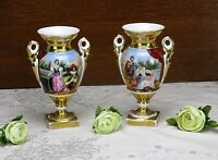 Couple Antique Vieux Paris Porcelain Vases French Landscape France