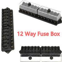 12 Way Standard Blade Block  Fuse Box Kit Car Boat Marine Fuse Box Holder 12v