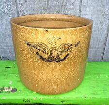 """Rare Stoneware """"Mustard Glaze"""" Crock Cobalt Blue American Eagle Stencil 5 Gallon"""