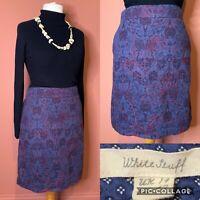 White Stuff Blue/Red Embroidered Skirt UK14 Linen Blend Floral A-line