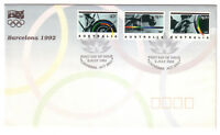 "1992 FDC. Australia. Barcelona Olympics. Olympic flame PictPMK ""CANBERRA"""