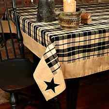 New Country Farmhouse Black & Tan Plaid Embroidered Star Table Cloth Cover