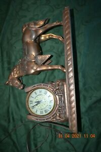"VINTAGE 1950'S LANSHIRE ""TIME FOR LUCK"" COPPER OR BRONZE HORSE MANTEL CLOCK"