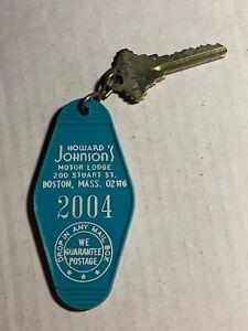 Howard Johnson's Hotel Motel Room Key Fob & Key Boston Massachusetts #2004