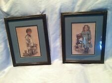 2 Robert Gentry 1986 Lithos Wood Framed - Little Sailor And Girl In Party Dress