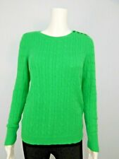 Talbots petite Women's Black Label Green Cable Knit Crew Neck Sweater Sz PS
