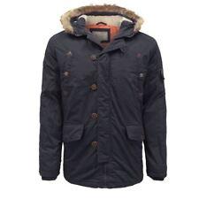 Cappotti e giacche da uomo blu con cappuccio in pelliccia