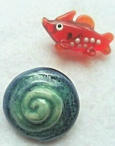 """Vintage Sea Pair Buttons, Lampwork Fish and Ceramic Shell, 1 1/4"""" & 1"""""""