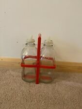 More details for vintage dairy barn stores milk 1/2 galloon x 2 with carry case