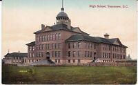 """High School, Vancouver, British Columbia"" Canada  c1910 Postcard  *FREE US SHIP"