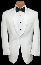 Men's White Tuxedo Dinner Jacket Satin Shawl Lapel Wedding Prom Cruise Mason 41R
