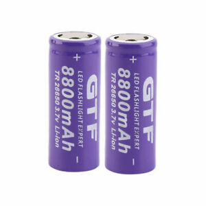 2x GTF 3.7V 26650 Battery 8800mAh Li-ion Rechargeable battery Fr DEL Flashlight