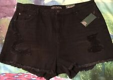 Black Denim Shorts 18 Wild Fable Fringed Distressed NEW